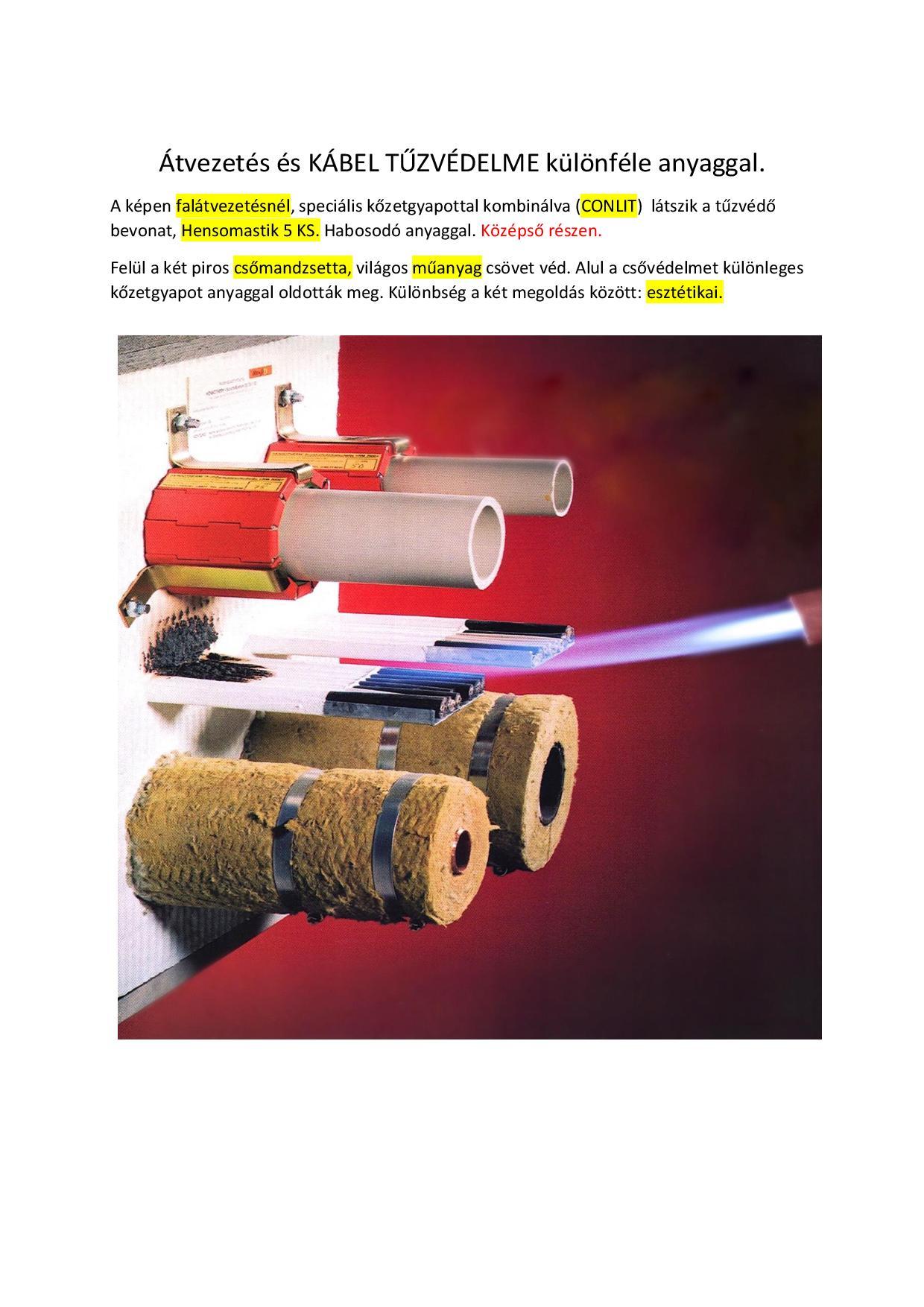 Kábelfunkció megtartása tűz esetén tűzvédelmi burk